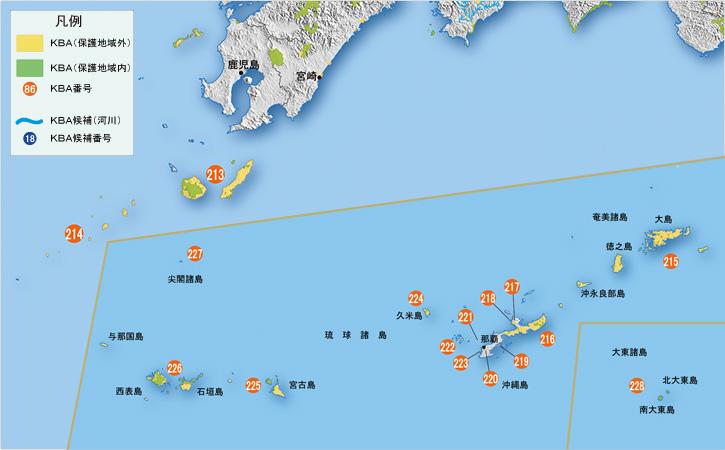 中部 近畿 中国・四国 九州 南西諸島 南西諸島 対象種の欄は、基準ごとに生息記録がある対象種の